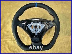 03-06 BMW E60 E61 NEW NAPPA LEATHER ERGONOMIC INLAYS FLAT BOTTOM SW blue stripe