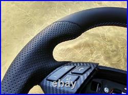 07-10 BMW E60 E61 NAPPA LEATHER ERGONOMIC INLAYS FLAT BOTTOM THICK carbon BLUE