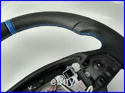 09-16 BMW 5 F07 F10 7 F01 NEW NAPPA ERGONOMIC INLAYS FLAT BOTTOM SHIFT/VIBR blue
