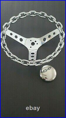 11 chain steering wheel with horn button lowrider 3 bar steering wheel