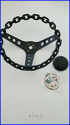 11 chain steering wheel with horn button lowrider 3 bar steering wheel black