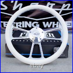 14 Billet Steering Wheel for Chevy GM Ford Dodge White Wrap and Horn Button