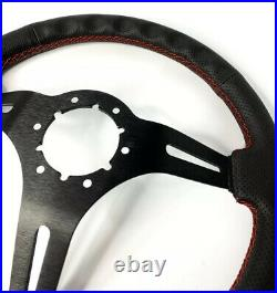 14 Black Perforated 6 Hole Steering Wheel with Ford Mustang Tri-Bar Horn Button
