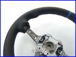 BMW 1 F20 2 F22 3 F30 4 F32 M TECH NEW NAPPA HEATED STEERING WHEEL blue THICK