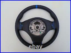 BMW 3 E90 E91 X1 E84 NEW NAPPA LEATHER STEERING WHEEL BLUE thumb rests HEATED