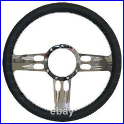 Billet Steering Wheel, Chromed 14 T-Bar Style with Black Leather Grip