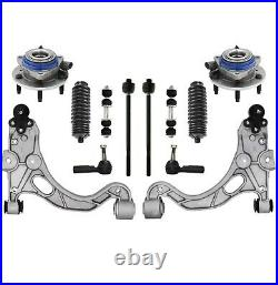 Front 12 Pc Steering & Suspension Kit Control Arm Sway Bars Hub Tie Rod Ends