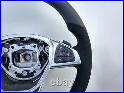 MERCEDES A CLS GLE GLA GLS NEW NAPPA / ALCANTARA STEERING WHEEL AMG/SPORT flat
