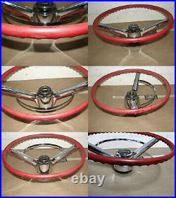 OEM 66 Chevy Bel Air STEERING WHEEL WITH HORN BUTTON BAR RING (RED)