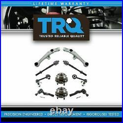 TRQ 10 pc Steering Suspension Kit Control Arms Wheel Bearings Tie Rods End Link